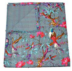 Gray Kantha quilt- Blanket, Quilt In Gray Color, Bird Kantha Quilt, Bedspread, Handmade Cotton Kantha Throw, Floral quilt, Indian Sari Quilt