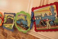 VINTAGE TRAIN TOYS Baby Shower Birthday Party Banner