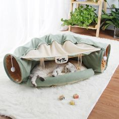 Cat Bed Tunnel Collapsible Removeable Cat Tunnel Tube Pet Interactive Play Toys with Plush Balls For Cat Puppy Chat Rose, Interactive Cat Toys, Bed Mats, Cat Tunnel, Pet Furniture, Buy A Cat, How To Make Bed, Pet Store, Bed Design