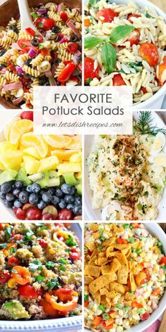 Favorite Potluck Salads Favorite Potluck Salads: You'll always be prepared to bring something delicious to a potluck or backyard barbecue with this collection of over 40 crowd pleasing salad recipes. Church Potluck Recipes, Easy Potluck Recipes, Healthy Potluck, Work Potluck, Potluck Salad, Cooking Recipes, Summer Potluck, Easy Potluck Dish, Potluck Ideas For Work