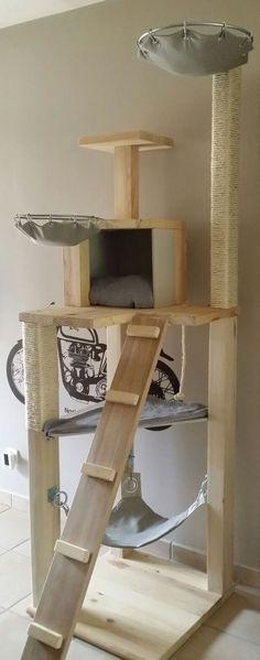 ARBRE A CHAT EN BOIS MASSIF de 6 étages                                                                                                                                                                                 Plus #cathousediy