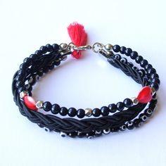 Tassel Triple Bracelet , Black evil eye with red tassel