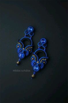 Handmade soutache earrings by Mildossutazas on Etsy Soutache Pattern, Soutache Tutorial, Soutache Pendant, Soutache Necklace, Tatting Jewelry, Beaded Jewelry, Boho Jewelry, Blue Earrings, Etsy Earrings