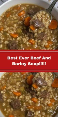 Best Ever Beef And Barley Soup!!!!! – Foodie Mom Kitchen Beef Soup Recipes, Cooker Recipes, Stewing Beef Recipes, Crockpot Recipes, Canning Soup Recipes, Beef Soups, Healthy Recipes, Beef Barely Soup, Slow Cooker Soup
