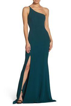 Main Image - Dress the Population Amy One-Shoulder Crepe Gown Gala Dresses, Formal Dresses, Evening Dresses, Winter Dresses, Long Dresses, Braids Maid Dresses, One Shoulder Prom Dress, Mermaid Bridesmaid Dresses, Pretty Prom Dresses