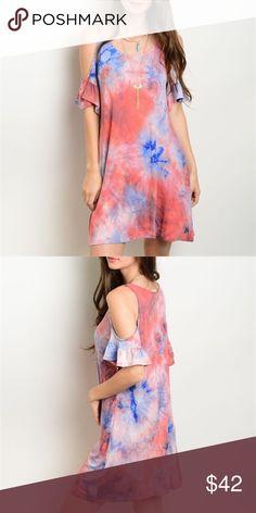 "⏰1 HOUR SALE⏰Tye Dye Dress Beautiful orange tye dye dress❤️ Made in: USA Fabric: 96% RAYON 4% SPANDEX Measurements: L: 34"" B: 40"" W: 42"" (measured from small) Dresses Mini"