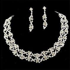 Wedding Bridal Bridesmaid Crystal Necklace Earrings Jewelry Set  – USD $ 12.99