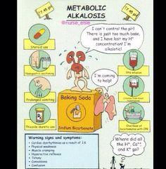 """Metabolic Alkalosis """"you puke acid & poop base"""" Nursing Board, Nursing Tips, Nursing Programs, Acidosis And Alkalosis, Metabolic Acidosis, Med Surg Nursing, Bsn Nursing, Nursing Career, Nursing Information"""