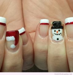 Christmas nails with Santa and snowmen