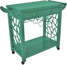 The Hostess bar cart by Society Social  comes in blue, pink, black, gray, turquoise, green, orange, purple, red, white, and yellow  $549.00