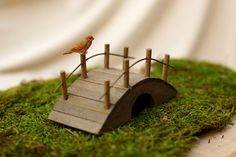 Fairy Garden Wooden Bridge Doll House Garden Bridge With Bird