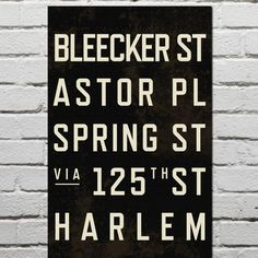 NYC subway stops sign Empire State Of Mind, Nyc Subway, New City, Typography Poster, Wall Signs, Tech Accessories, Subway Signs, Classic, Basement Walls