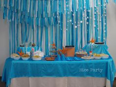 Beautiful tablescape and love the backdrop.  Great idea for a Little Mermaid Party or Under the Sea Party.