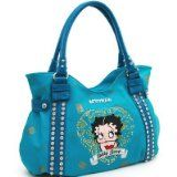 Studded Betty Boop Shoulder Bag w/ Heart And Rhinestone Embroidery Turquoise