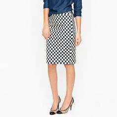 """J. Crew Polka Dot Pencil Skirt J. Crew Factory """"The Pencil Skirt"""" in polka dot. In excellent condition! Size 4. -Navy blue. -Poly/rayon. -Sits at waist. -Length: 21"""" -Waist: 30"""" -Hip: 38"""" -Back zip. -Back vent. -Unlined.  No Trades. Please make all offers through offer button. J. Crew Skirts Pencil"""