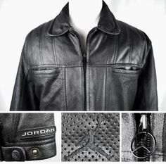NICE-Nike-Air-JORDAN-Mens-Perforated-Leather-Motorcycle-Jacket-Black-XL-Shoe Statement Jackets, Jordan Logo, Gifts For Dad, Motorcycle Jacket, Air Jordans, Nike Air, Dads, Boyfriend, Husband