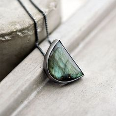 Labradorite Necklace Peacock Teal Green Blue Flash by TheSlyFox, $161.00