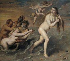 "Cornelis de Vos, ""Nacimiento de Venus"", siglo XVII, óleo sobre lienzo, 187 x 208 cm"