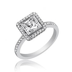 GIA Certified Diamond Engagement Ring 18k Gold 1.91 Carat Cushion & Round Cut #DiamondsByElizabeth #SolitairewithAccents