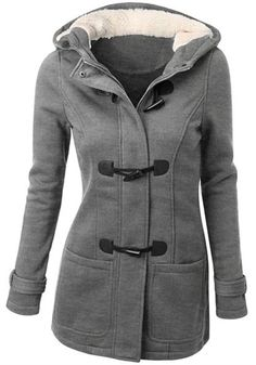 Casual Hooded Double-Pocket Flocking Long Sleeve Coat
