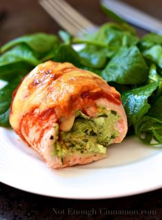 Chicken Rollatini stuffed with Pesto and Philadelphia
