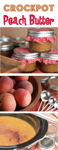 Crockpot Peach Butter Recipe! {Just 6 Ingredients} - The Frugal Girls Crock Pot Slow Cooker, Crock Pot Cooking, Slow Cooker Recipes, Cooking Ribs, Jam Recipes, Canning Recipes, Fruit Recipes, Canning Tips, Jelly Recipes