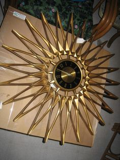 Antique Wall Clocks, Vintage Clocks, Wall Clock Design, Clock Wall, Mid Century Modern Art, Mid Century Design, Modern Clock, Mid-century Modern, Sunburst Clock
