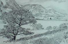The north end of Crummockwater, English Lake District, original drawing by Karl Stedman, kstedmanart@aol.com