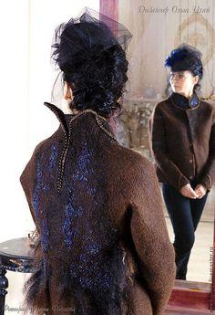 Верхняя одежда ручной работы. Ярмарка Мастеров - ручная работа Валяный жакет Синяя птица.. Handmade.