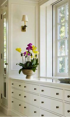 Idea :: Built-In Chest of Drawers with Closets at Each End to Frame a Window Master Bath, Master Bedroom, Chest Of Drawers, Household, Windows, Closets, Cottages, Building, House Ideas