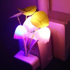 Night Light Dream Mushroom Lamp LED Plug This is a LED Night Light with mushroom style light which plugs into the wall. This LED Night Light laminates and giv Handmade Headboards, Mushroom Lights, Led Night Light, Night Lights, Pink Leaves, Leaf Coloring, Room Lamp, Bed Room, Night Lamps