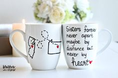 Personalized Sister Coffee Mug This Personalized Sister Coffee Mug celebrates the joy and friendship true sisters develop over time. Unique Sisters Gifts that you can Personalize a Sister Coffee Mug for each of your sisters. Personalized Mugs are hand painted and include FREE Personalization! Personalize your Sister Coffee Mug choice with up to 5 states Mugs are available 15 oz.This hand painted sister coffee mugis one of my bestselling items in my portfolio and it is easy to see why. This…
