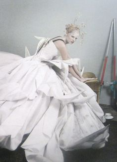 'Lara Stone', Lara Stone by Mario Testino, Vogue UK May 2007.  Christian Dior Spring Summer 2007 Haute Couture