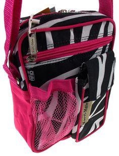 Travel Gadget Bag Pink Zebra Black White Shoulder Strap Crossbody RFID Blocking White Shoulders, Travel Gadgets, Pink Zebra, Travel Bags, Shoulder Strap, Lunch Box, Black And White, Suitcases, Travel Handbags
