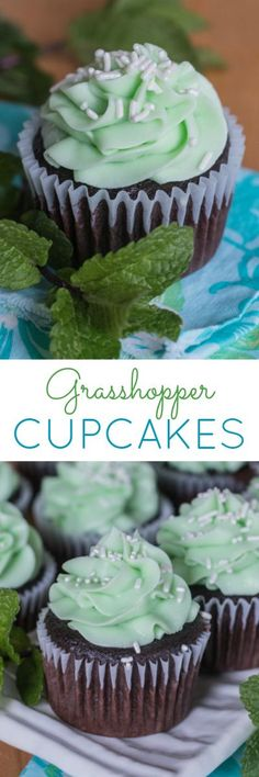 Inspired by the after dinner drink, these rich chocolate cupcakes topped with minty frosting come together as decadent and delicious Grasshopper Cupcakes. A great recipe for mint lovers!