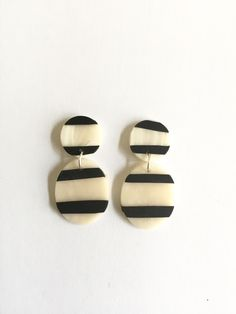 Black and White striped clay drop earrings by cbrdesign on Etsy