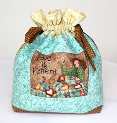 Drawstring Bag  Quilted Pouch  Toiletry Bag  by RedNeedleQuilts