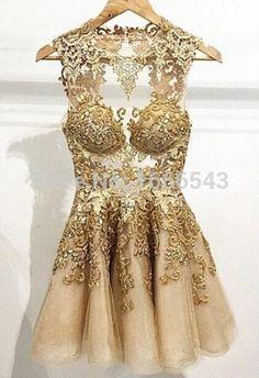 Vestidos de Cocktail Applique A linha de vestidos de baile gola mangas Zip voltar Mini curto Prom vestidos