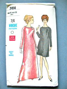 Vogue 7414 from the 1960s One-Piece Semi-Fitted by Fancywork