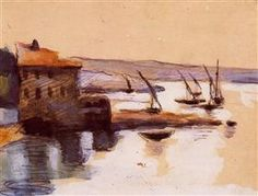 Paul Cezanne, Seascape, Watercolor and gouache on brown paper, private collection. Renoir, Paul Cezanne Paintings, Cezanne Art, Sea Paintings, Oil Painting Reproductions, Rodin, Beautiful Paintings, Art World, Oeuvre D'art