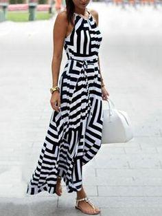 Geo Print Contrast Color Halter Casual Maxi Dress