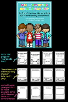 Mis memorias del año escolar - An End of the Year Memory Book for Primary Bilingual Students