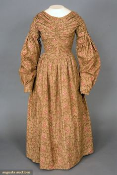 Geometric Roller Printed Dress, C. 1840, Augusta Auctions, November, 2007 -Tasha Tudor Historic Costume Collection, Lot 110