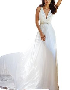 AnKang Elegant VNeck Crystal Chiffon Wedding Dresses Back See Through Evening Dress 6 White -- You can get more details by clicking on the image.