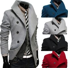 New Stylish Mens Warm Winter Double-breasted Coat Oblique Buckle Jacket Overcoat #100brandnewhighquality #BasicCoat