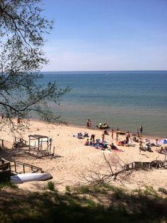 Public beach in Caseville, Michigan