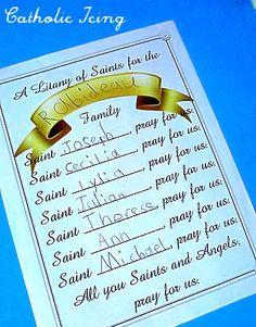 Haciendo Una Letanía de los Santos de la Familia Con católica Niños- para imprimir!