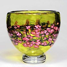 Cherry Blossom Footed Bowl on Lime by Shawn Messenger (Art Glass Bowl)