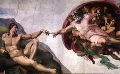God transfers the spark of life to Adam. Painting by Michelangelo, The Creation of Adam, c. 1512 More at http://www.global-awareness.org/books/worldhistory.html