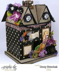 'An Eerie Tale' Halloween House (view 2) by Ginny Nemchak for #graphic45 Wendy Schultz ~ Graphic 45 Projects.